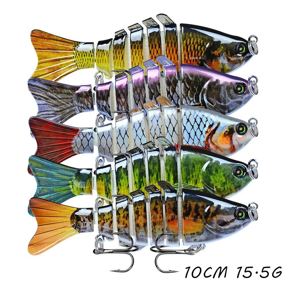 5pcs / lot multi-sección de pescado cebos duros Señuelos 15 Color mezclado 10 cm 15,5 g 6 # gancho de pesca Ganchos Pesca Caza y Pesca Accesorios WA_59
