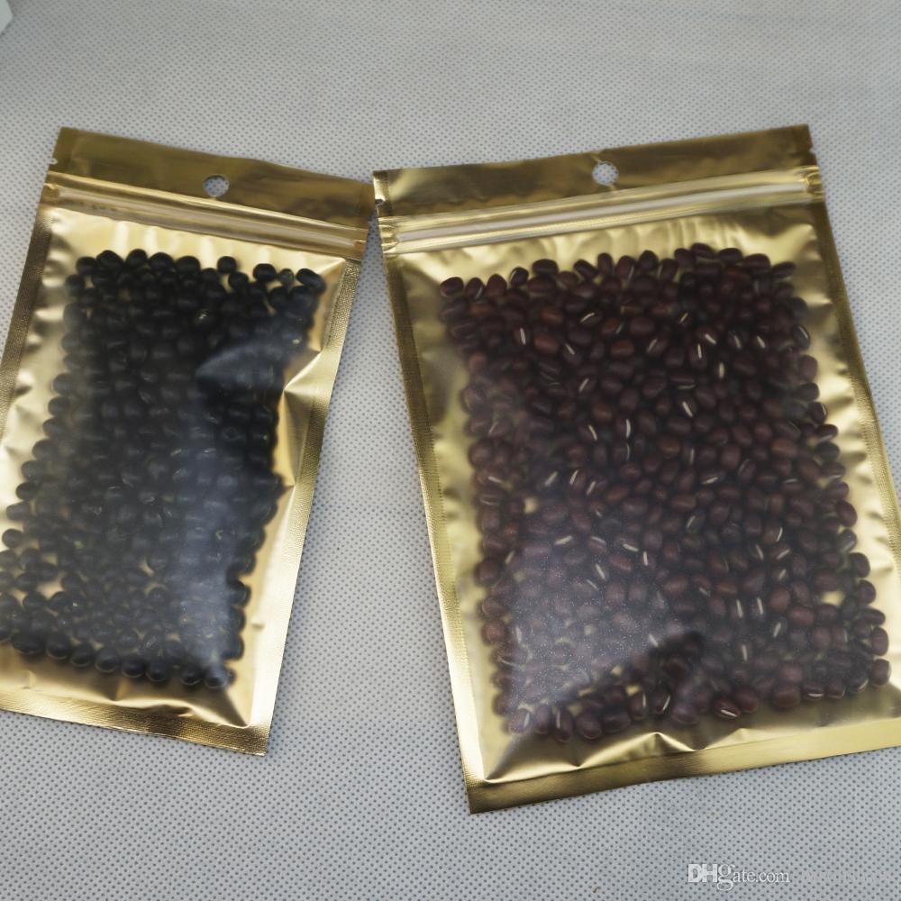 100pcs / sac de sel de paquet, 12 * 20cm sacoche d'emballage alimentaire de riz de feuille transparente intérieure mylay gloden mat avant reopenable, sac à fermeture à glissière en plastique réutilisable