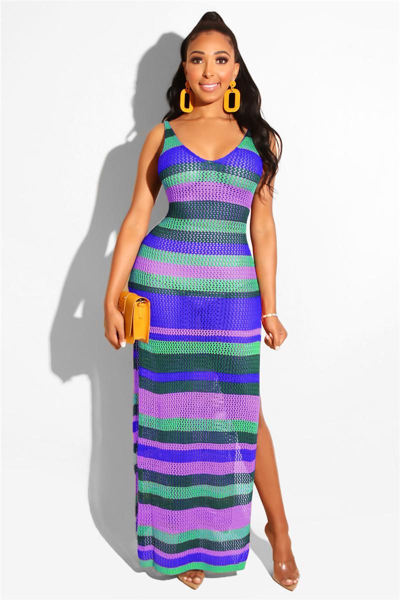 Frauen Designer-Kleider Sexy aushöhlen Streifen-Strand-Rock-Sommer-beiläufiges Split mit V-Ausschnitt Knitting Damen lange Kleid