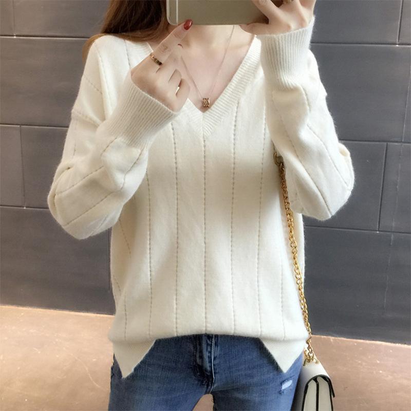 2019 Neue koreanische Version Frühling Herbst Süße elegante Frau V-Ausschnitt Dünne Strickpullover Hohe Qualität Pullover cc1166