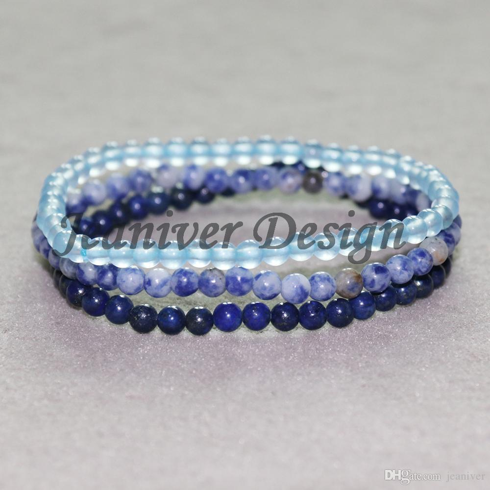 Jeaniver 2019 Bracelet Sodalite Bleu Haute Qualité Bracelet Célestine Naturelle Bracelets Mini Gem Energy Bracelets