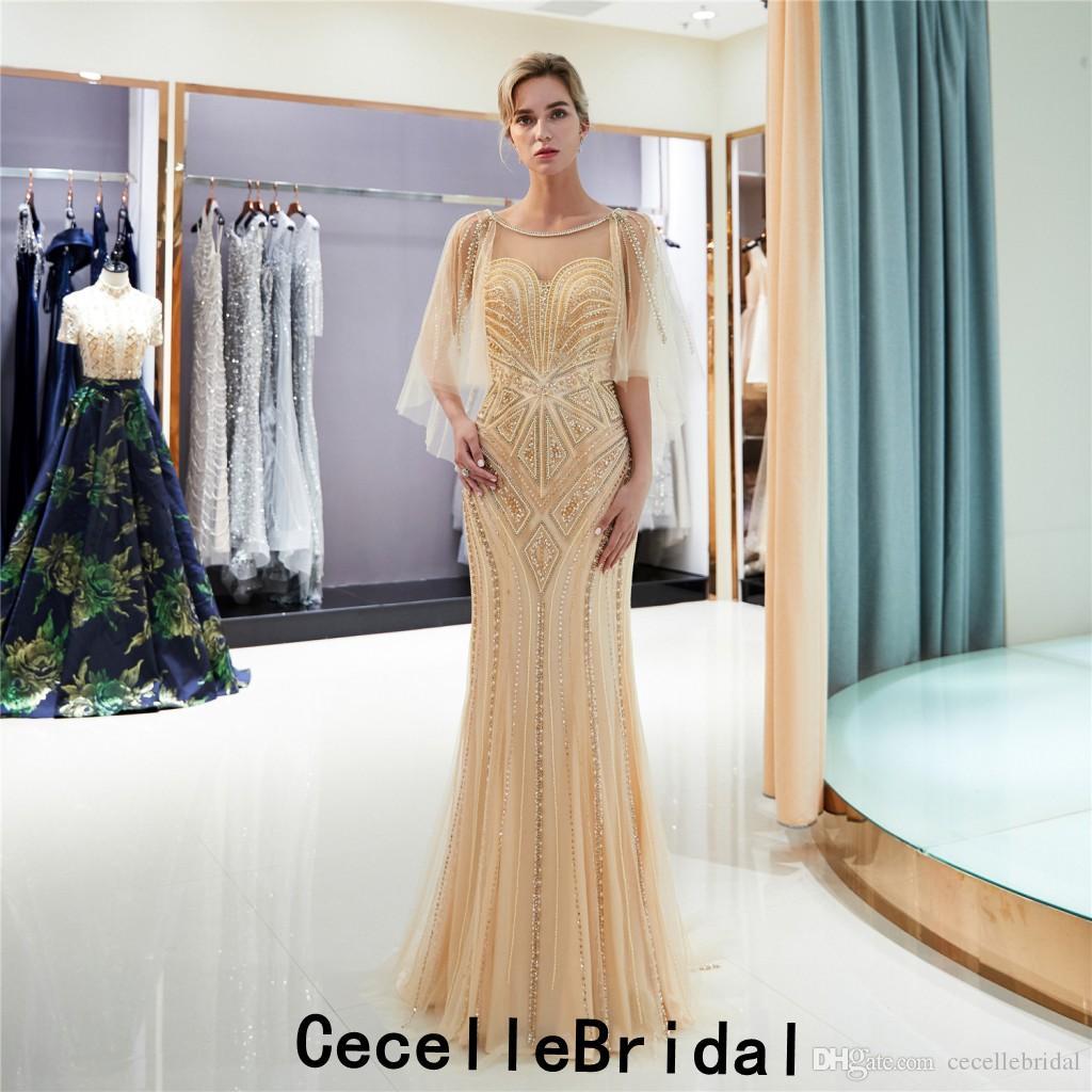 großhandel gold mermaid langes abendkleid 2019 new sleeved voll perlen tüll  short train frauen elegante sparkly abendkleider roter teppich kleid von