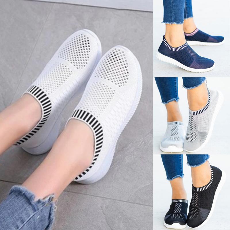 Manera de las mujeres al aire libre malla zapatos de deporte casual Operando Plataforma transpirable Formadores Mujeres Tenis Feminino las zapatillas de deporte