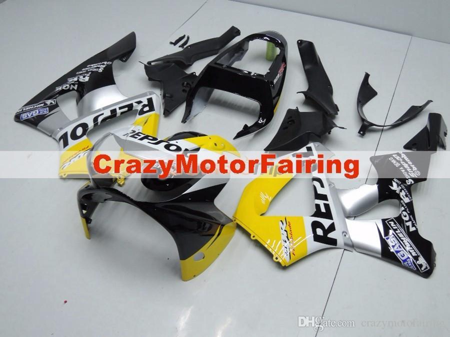 New injeção ABS carenagens da motocicleta kit para HONDA CBR 929RR 929 2000 2001 CBR929RR 00 01 CBR 900RR carenagens partes Repsol amarelo personalizado