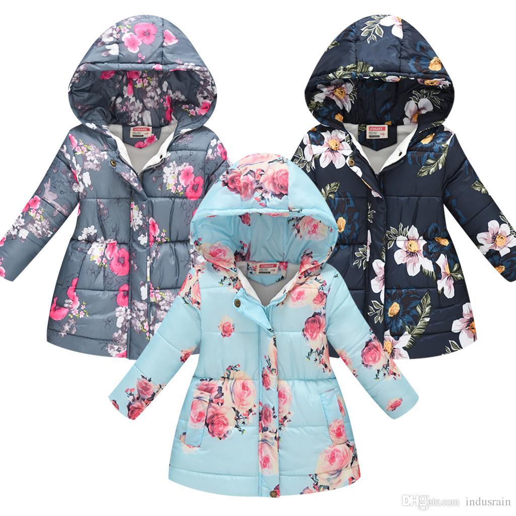 Малыш Детских Девочки Мальчики Цветочного капюшон зима теплое с капюшоном ветрозащитного пальто