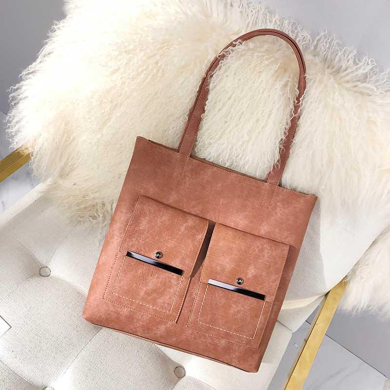 2020 nuevo bolso de ordenador portátil de cuero Pu bolsos simples marcas famosas bolso de hombro de mujer Casual grandes bolsas Vintage señoras bolsos compuestos