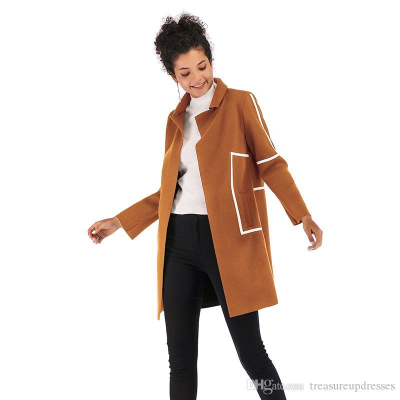 Sonbahar Moda Gevşek Turn Down Yaka Açık Stich Uzun Kollu Kadınlar için panelli Kontrast Renk Uzun Tweed Yün Dış Giyim Coat Cepler