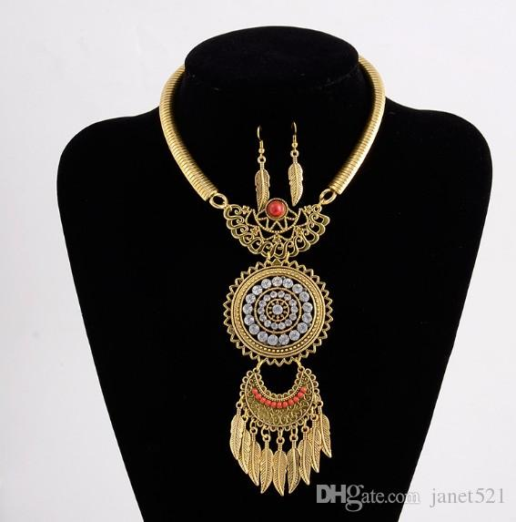 Vintage Necklace Earrings Set Gold/Silver Plated Bohemian Jewelry Set For Girls/Ladies