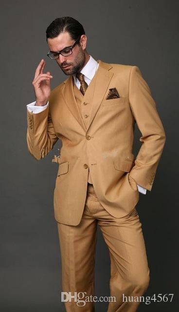 새로운 유행 2 버튼 샴페인 웨딩 신랑 턱시도 노치 옷깃 Groomsmen 남성 복장 브라더 (자켓 + 바지 + 조끼 + 타이) 213