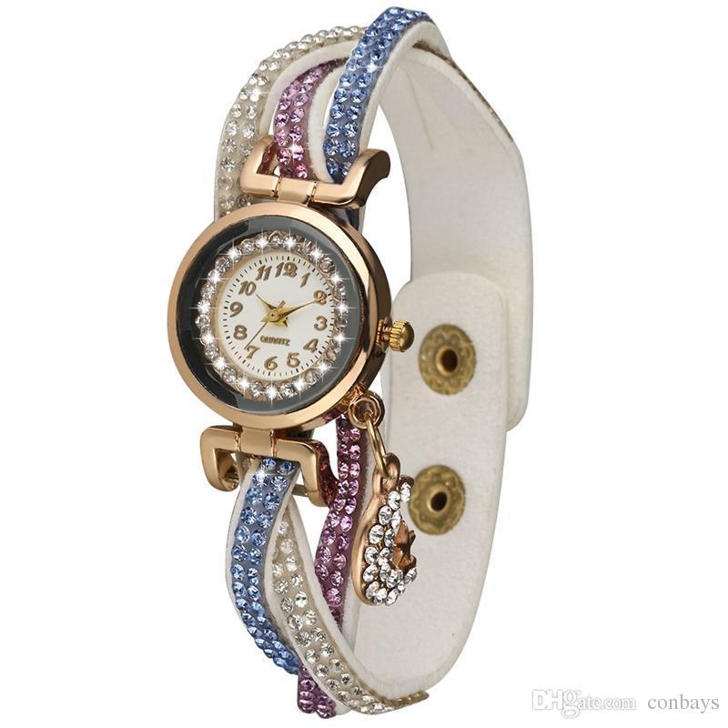 Exquisite Brown Diamond-encrusted Watchband Bracelet Watches for Women Arabic Digital Dial Watch Elegant Moon Pendant Bangle Watch