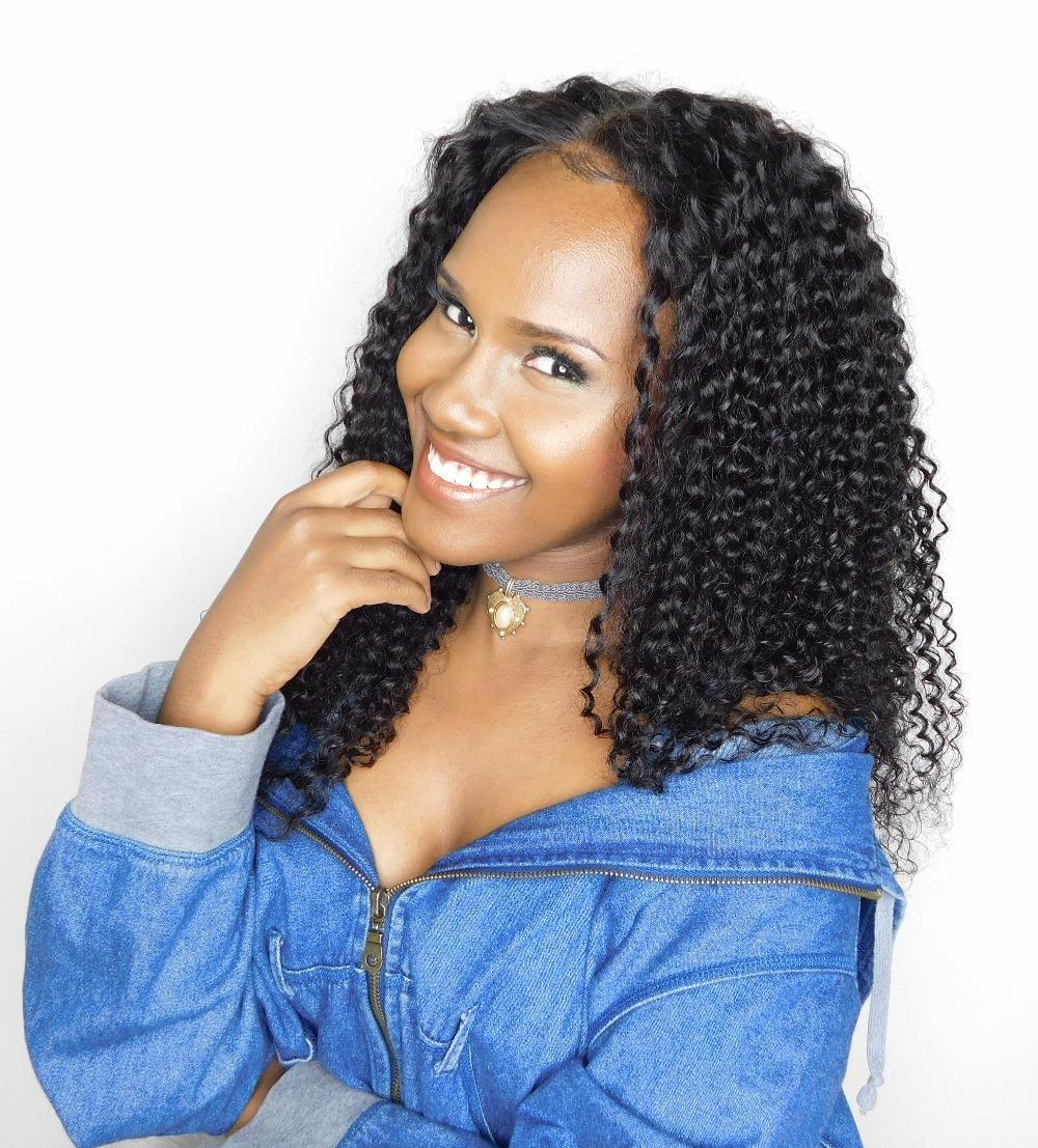 Pré-plumé 360 Lace Frontal perruques pour les femmes noires conchyliculture Hairline profonde Vierge Curly brésilienne cheveux 360 perruques dentelle 130% de la densité 14inch