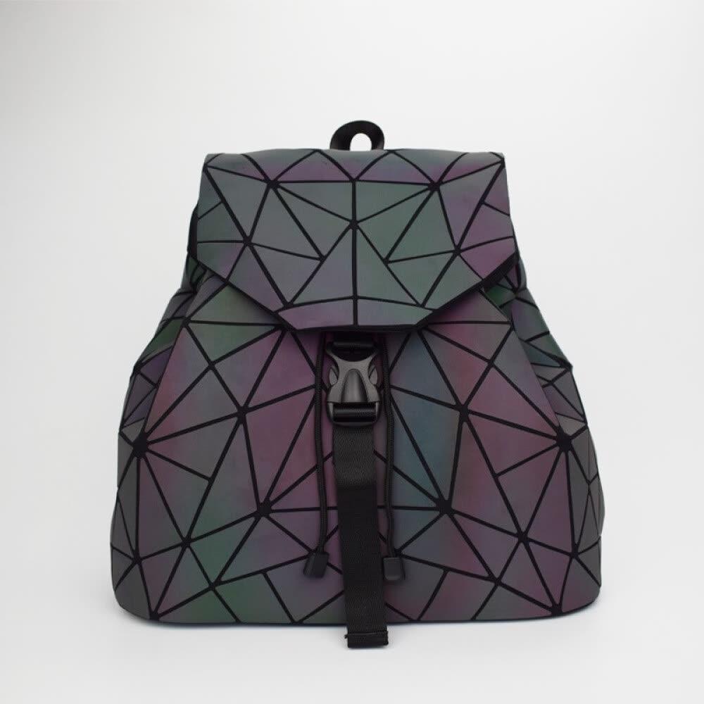 Lingge geométrico de las mujeres Mochila Luminoso Flash para hombre Bolsa de viaje Mochila mochila escolar brillante brillante mochila mochila de viaje bolsas holográficas