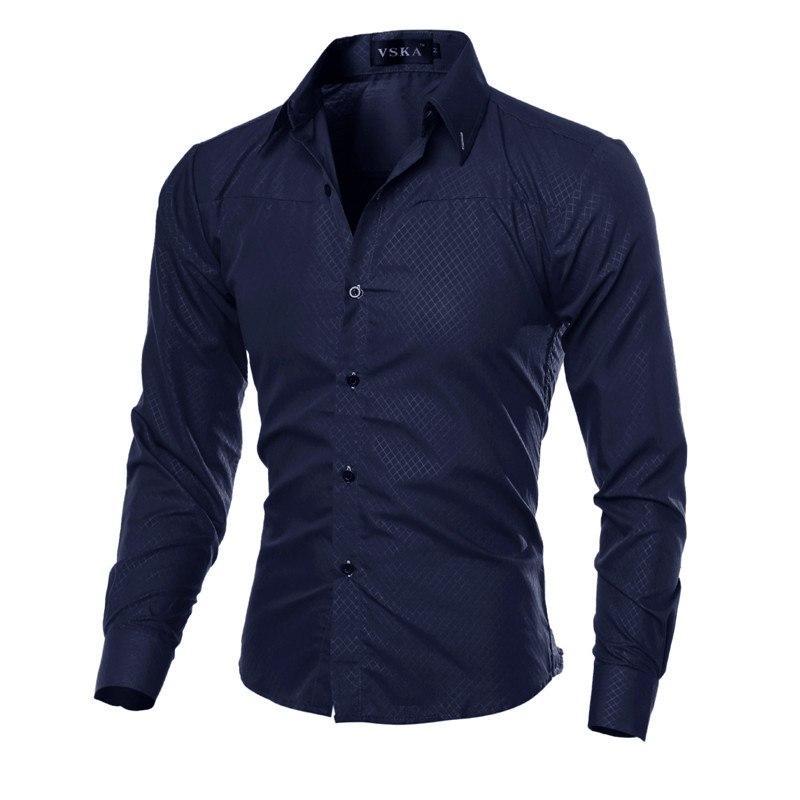 Homens Plus Size sólidas moles shirts de manga comprida Casual Slim Fit Camisas de vestido Turn Down Collar masculinos formais Shirts