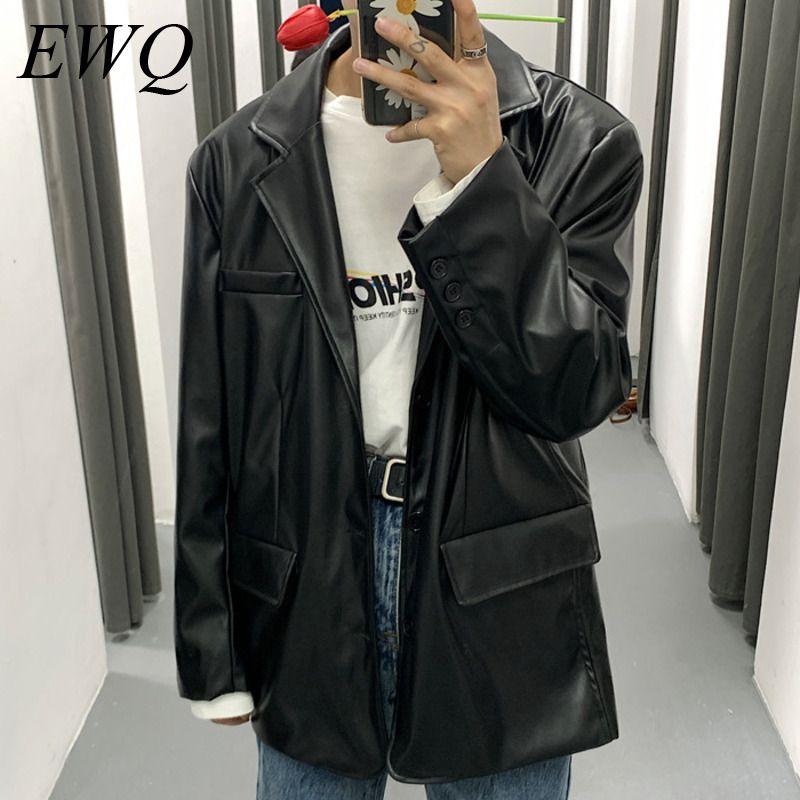 EWQ / Abnutzung 2020 Frühling Art und Weise der Männer neue PU-Lederjacke für Männer Weinlese-koreanischen Stil Blazer beiläufigen losen übergroßen Mantel 9Y982