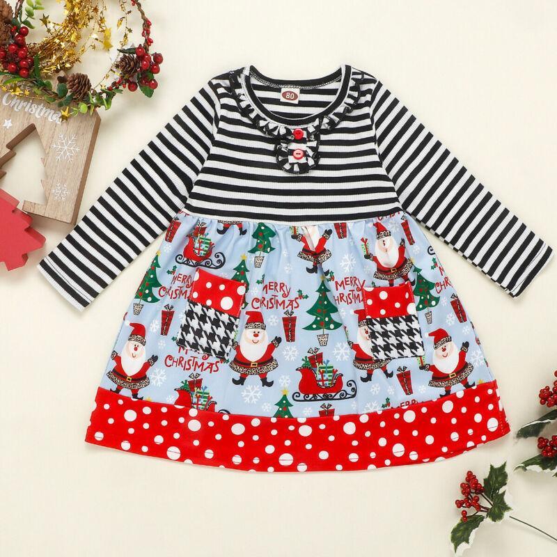 Tout-petit bébé enfants ma première robe de Noël rayée de Noël Père Noël Tops