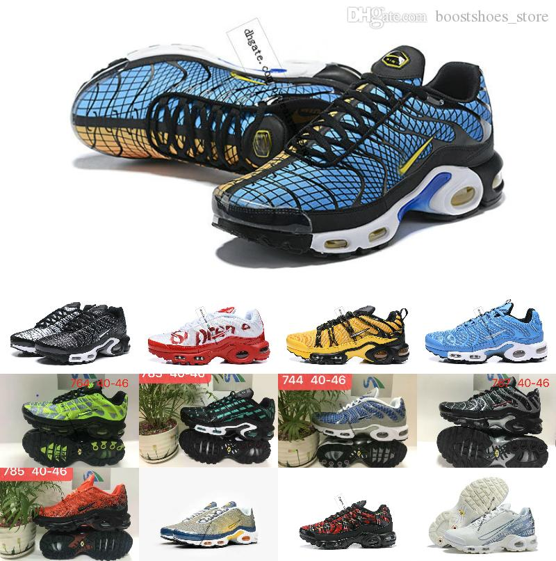 2019 New Designer Top Quality TN shOes Breathable Mesh Chaussures Homme Tn REqUin Noir Casual Men Running ShOes Size 7-12
