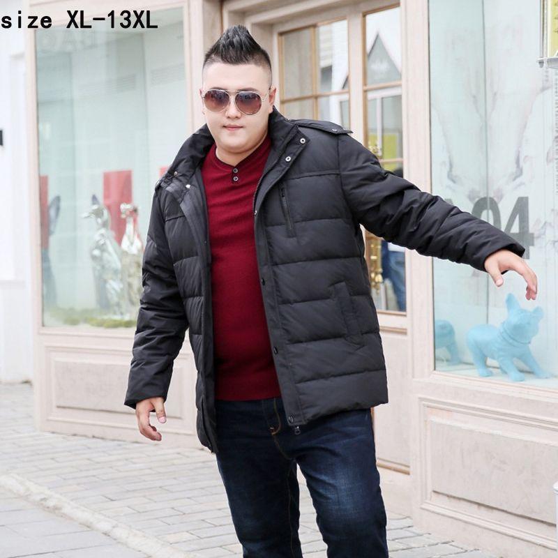Новая мода высокого качества прибытия супер большой 11XL 12XL 13XL Повседневный Теплый Толстые с капюшоном на молнии Сыпучие вниз куртка Мужское пальто