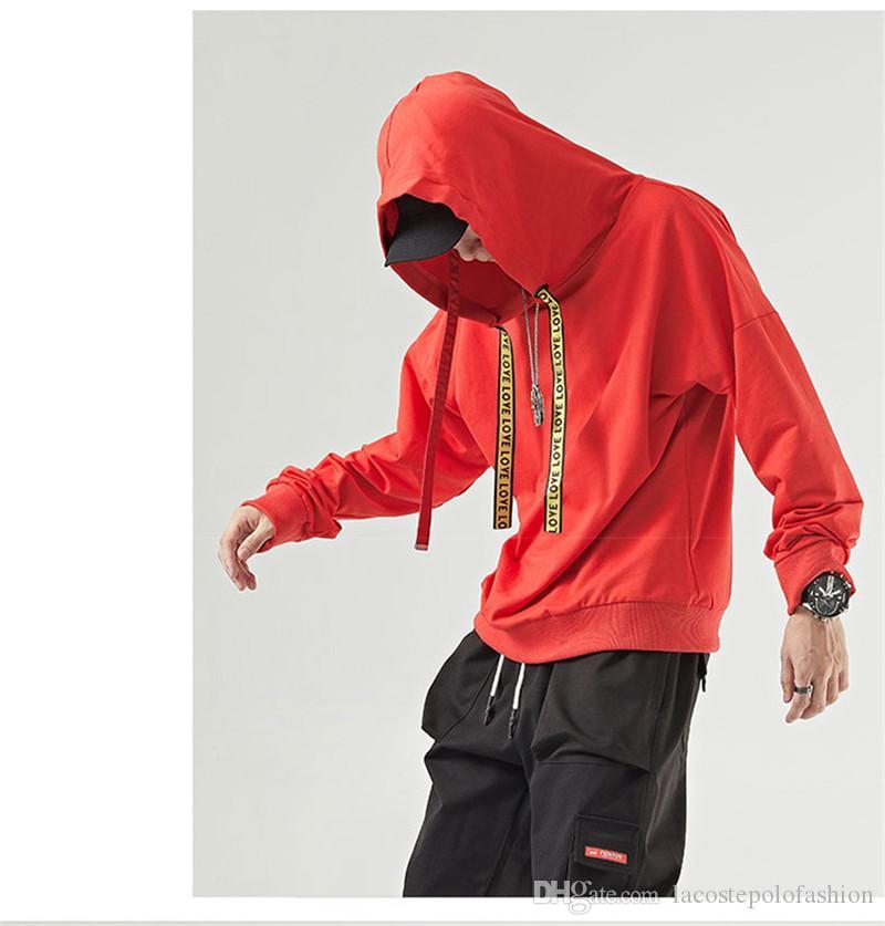 Mens Designer Long Sleeve Hoodies LOVE Printed Ribbon Hiphop Mens Pullover Hoodies High Street Fashion Tops