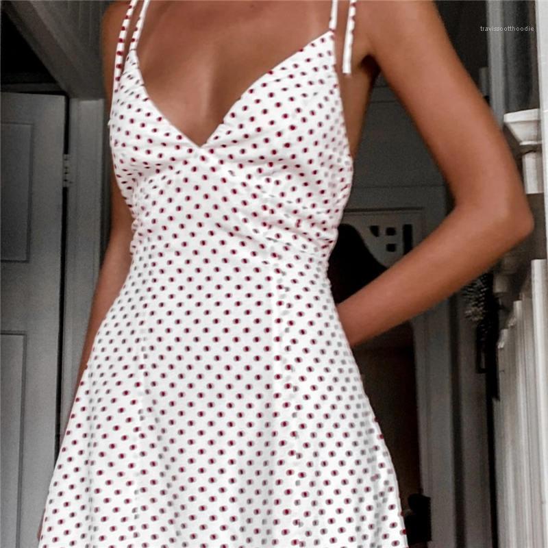 Dress Holiday Womens Fashion Clothing Teenager Apparel Spaghetti Strap Mini Dresses Womens Split Polka Dot Desginer