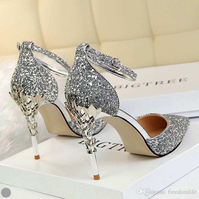 تألق النساء مصمم أحذية مريحة أحذية الزفاف الزفاف عالية الكعب صندل لحفل زفاف مساء حزب حفلة موسيقية ارتداء