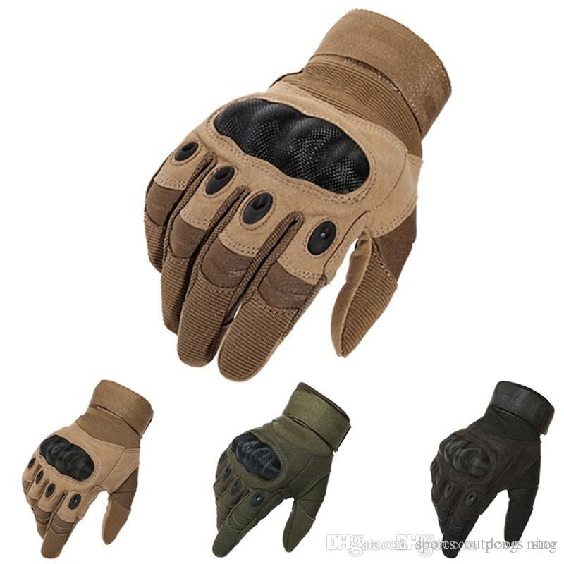 Guanti tattici Sport all'aria aperta Motocycel Guanti full finger Paintball Shooting Combat Carbon Hard Knuckle Mittens