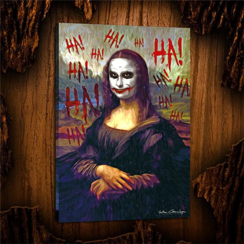 Joker-Mona Lisa, HD Tuval Baskı Yeni Ev Dekorasyon Sanat Boyama / (Çerçevesiz / Çerçeveli)
