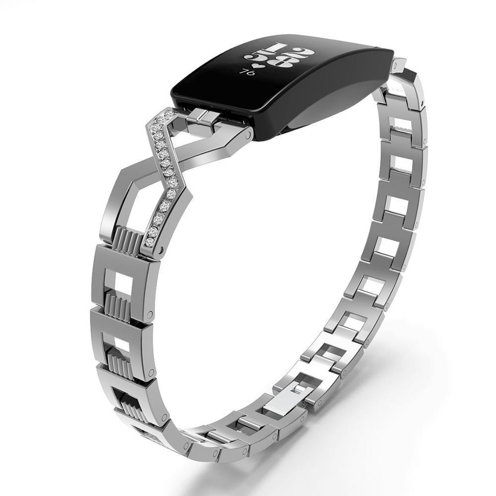 Paslanmaz Çelik Band Fitbit Için Inspire Kristal Metal Bileklik Fitbit Için Inspire İK Kayış Band Correa Fitbit İzle Band 62014