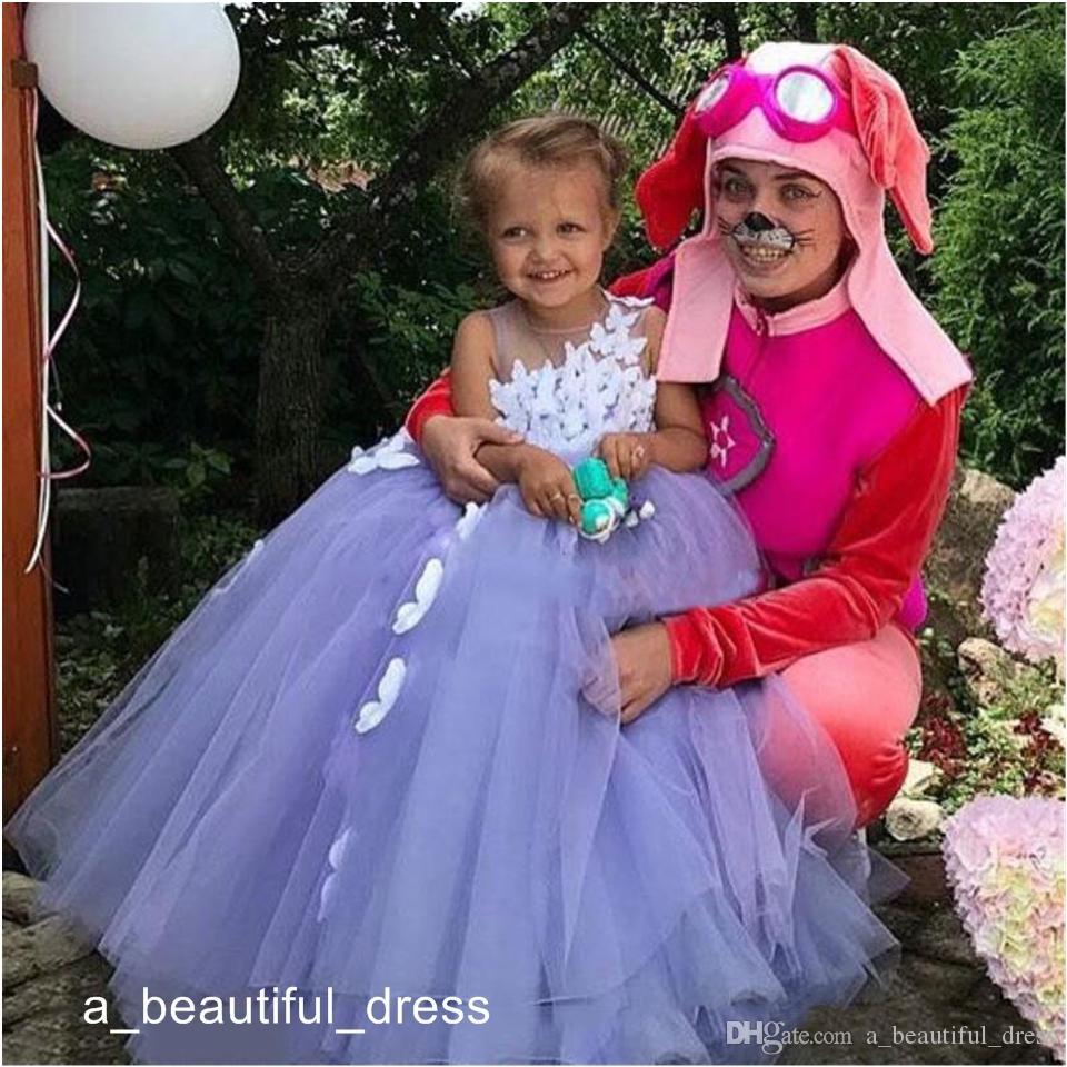 Lila Ballkleid-Blumen-Mädchen-Kleider Tulle 3D Blumen Appliques Pageant Kleider Schmetterling Communion Kostüm Kinder Formal Wea FG1323