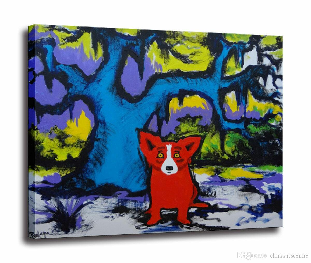 Blue Dog High Quality Handpainted & HD Print Modern Abstract Animal Art Oil Painting On Canvas Wall Art Home Office Deco a43