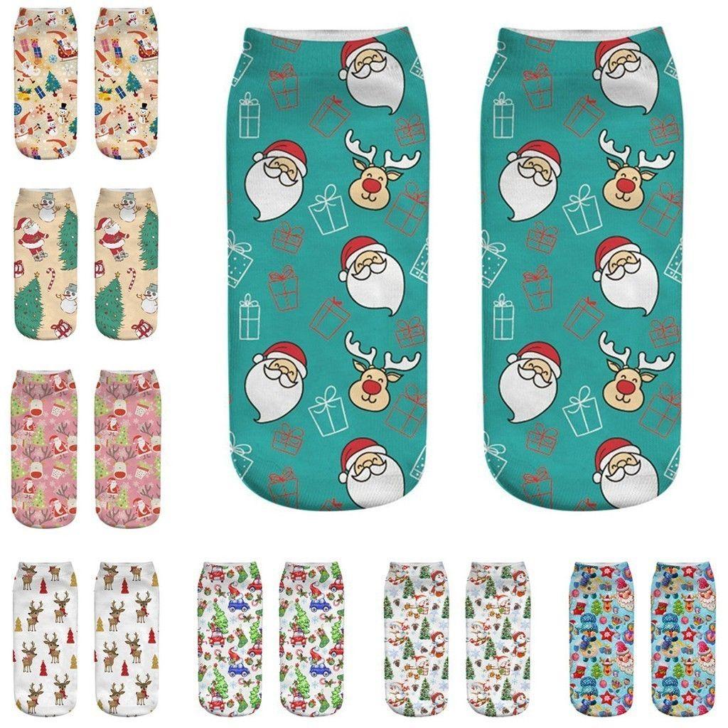 winter socks Christmas 3D Print Santa Elk Printing Medium Harajuku Style Cute Calzini Calzas Low Cut Ankle Sock Calcetines