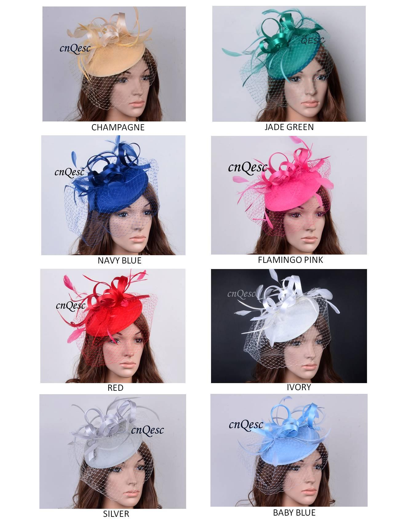 NUOVO DISEGNO Cappotto di piume di alta qualità elegante copricapo di feltro Kentucky Derby cappelli con velo per uccelli per la chiesa reale di nozze