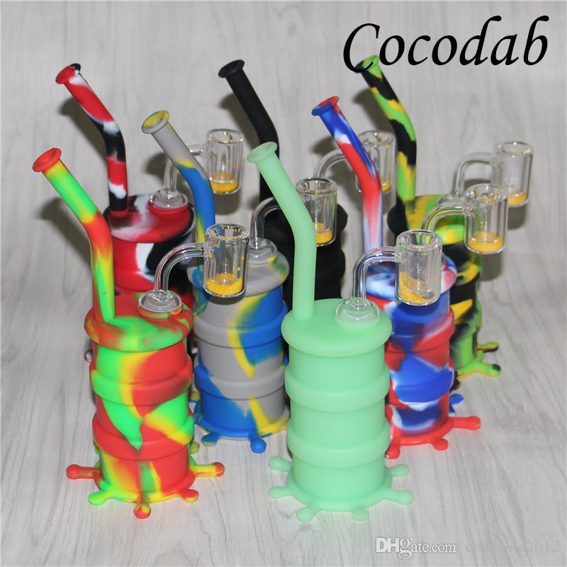 Hookahs coloridos Silicone Oil Rigs Bongos com vidro downstem tubos de água de silicone dab rig 14 milímetros conjunta termocrômica balde quartzo bangers