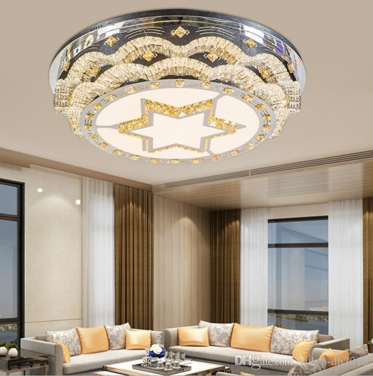 Europeo di lusso Modern Luxury lampada del soffitto di cristallo del LED creativa Soggiorno stella Lampadari Camera Luce Villa plafone LLFA