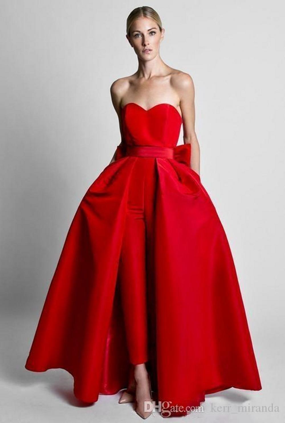 Pantaloni moderna Krikor Jabotian Red tute Abiti da sera con gonna staccabile Sweetheart Prom abiti per le donne facevano DH4126 personalizzato