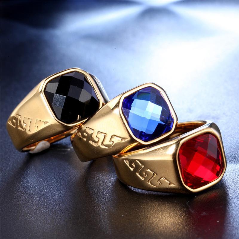 Anel do vintage para o aço inoxidável Men Ágata Moda Simples fresco Charme Personalidade Banda Dedo Rings Joalheria Tamanho 8-13