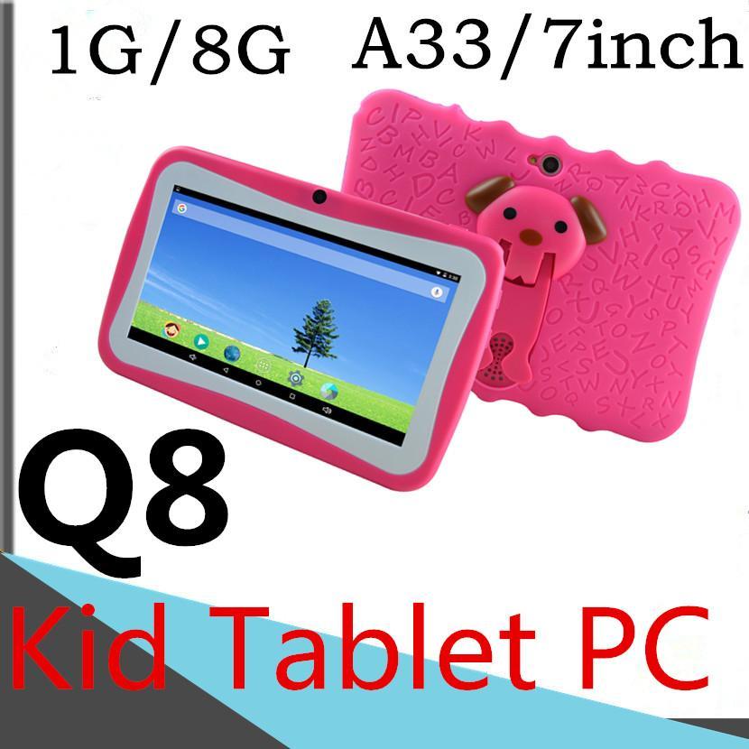 A33 태블릿 PC 7 인치 정전 용량 쿼드 코어 8기가바이트 / ROM 1기가바이트 / RAM의 Q8 아이 태블릿 학습 비디오 WIFI 컴퓨터 카메라 블루투스 3G 구글 DHL