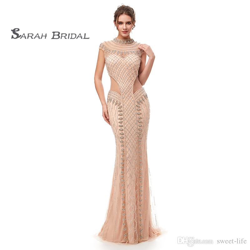 2019 Luxury Mermaid Rhinestones Sexy Prom Party Dresses Dubai Show Hollow Backless Illusion Dress See Through Evening Gown