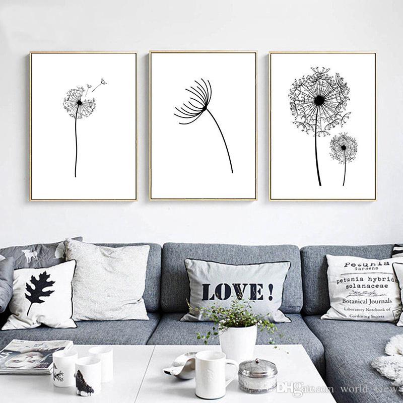 3pcs Blanco y Negro Flor del diente minimalista del paisaje del arte cartel de la pared de la lona nórdica Impresión del extracto del arte de la pintura de cuadros de la pared de Livin