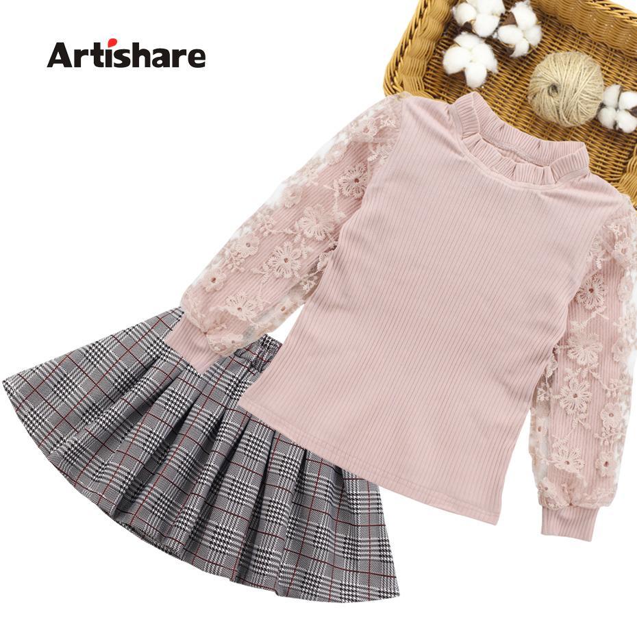 Children Clothing Set Autumn Teenage Kids Lace Sweatshirt +skirt 2pcs Suits For Girls Clothes 6 7 10 11 12 Years Q190523