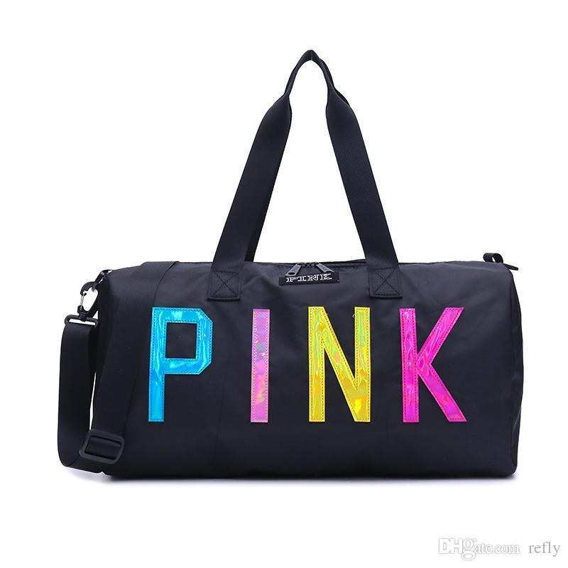 الحب الوردي حقيبة التخزين الكبيرة الوردي الرجال النساء السفر حقيبة هانغباغ أكياس القماش الخشن حقائب الأمتعة