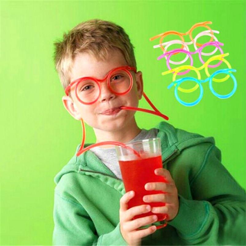 Diversión creativa del niño paja de los vidrios de plástico blando de paja de los vidrios pajitas de beber herramienta tubo flexible del partido del cabrito fuentes de la barra Accesorios VT1694