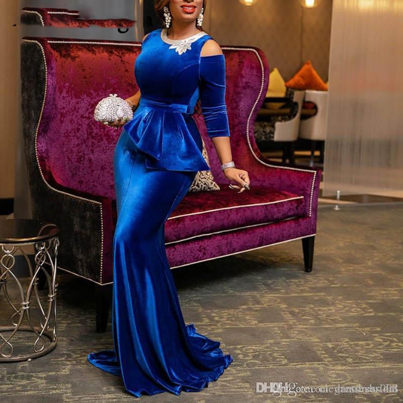 African Royal Blue Velvet Mermaid Prom Dresses Jewel Neck 3/4 Mangas Vestidos de festa Vestidos Desgaste da noite Elegante Vestidos de festa para meninas negras