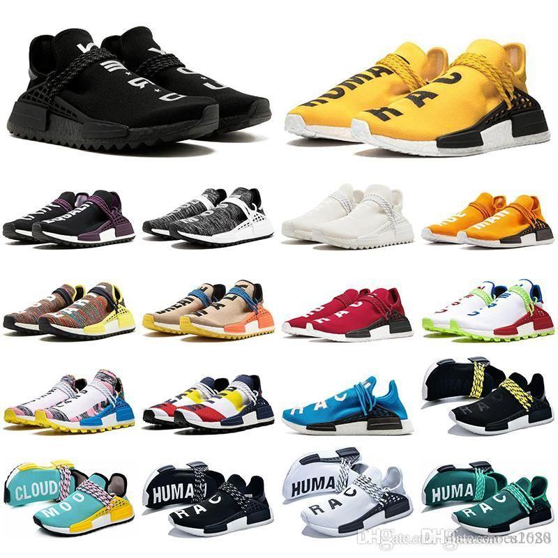 С носками NMD человеческой расы мужские кроссовки Pharrell Williams образец желтый ядро черный спортивный дизайнер обувь кроссовки дышащий