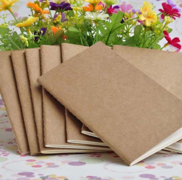Kraft Notebook sin forro blanco Libros Diarios de viaje de los estudiantes de la escuela los niños a escribir libros 8.8 * 15.5cm SN982
