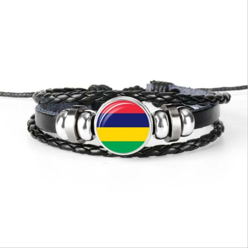 High Quality Glass Cabochon Mauritius National Flag World Cup Football Fans Bracelets Cowhide Wrap Leather Rope Beaded Jewelry For Women Men