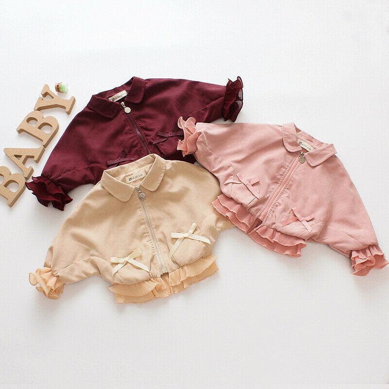 Kid Girls Coat 0-4Years Toddler Newborn Baby Cute Cardigan Zipper Bowknot Jacket Long Sleeve Autumn Winter Baby Outerwear