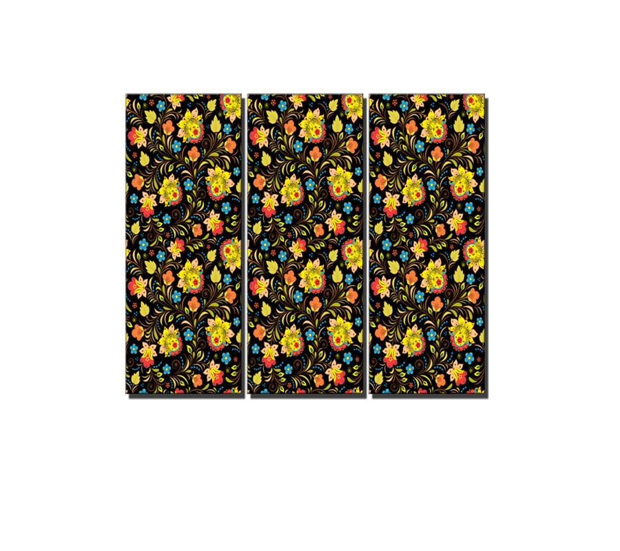 Floral Designs, Russian Style,3 Pieces Canvas Prints Wall Art Oil Painting Home Decor (Unframed/Framed) .