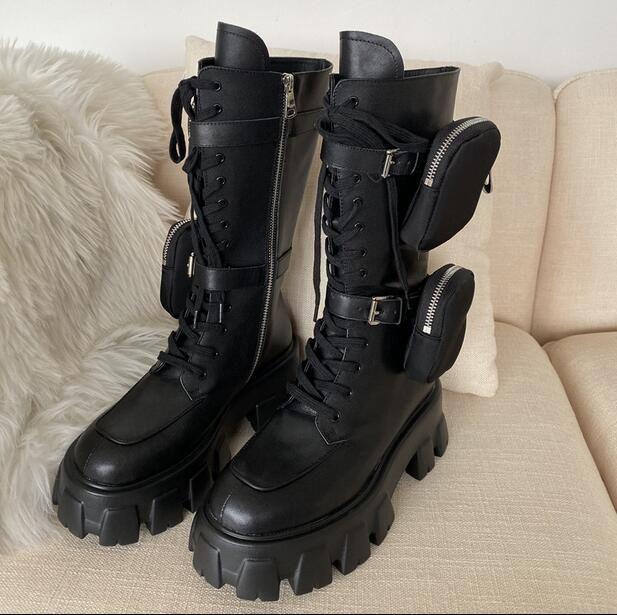 간 새로운 디자이너 포켓 나이트 부츠 라운드 발가락 땅딸막 한 유일한 평면 플랫폼 중순 송아지 롱 부츠 펑크 신발