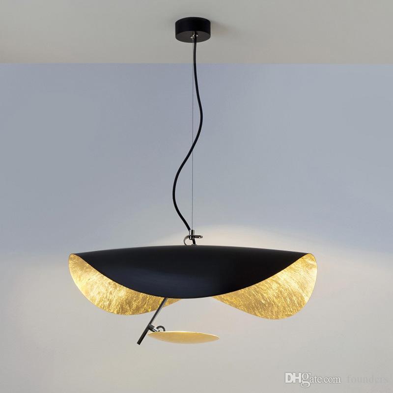 Moderne créatif LED Pendentif Lumière Postmoderne Salle À Manger Chambre Luminaire Rétro Noir Or Texture Suspension Lampe 90-260V