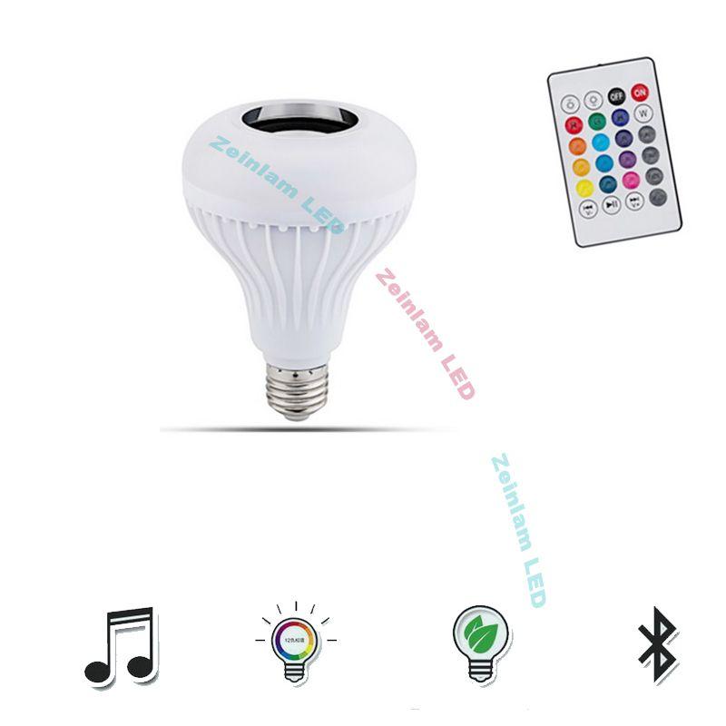 LED inteligente Bluetooth Bombillas altavoz RGB que cambia la bombilla de la lámpara de luz LED regulable Música E27